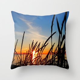 Sunset Through the Beach Grass Throw Pillow