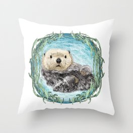 Sea Otter in Kelp Wreath Throw Pillow
