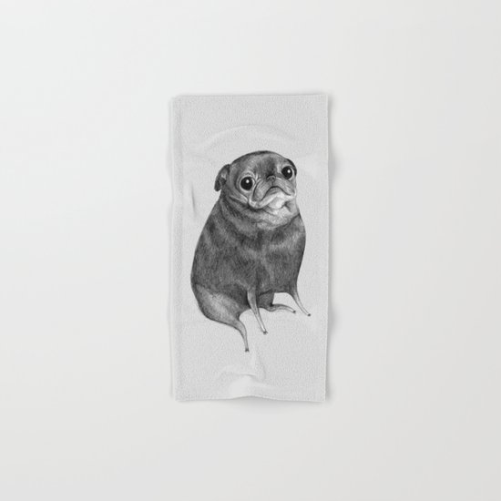 Sweet Black Pug Hand & Bath Towel