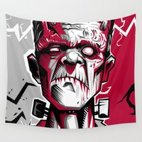 frankenstein Wall Tapestries featuring frankenstein by don motta
