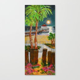 moon at the pier Canvas Print