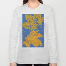 Eco botanical print orange - blue Long Sleeve T-shirt