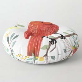 Red Bird with Floral Crown Floor Pillow