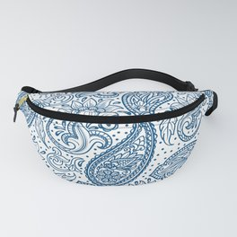 Blue ethnic ornate floral paisley pattern Fanny Pack
