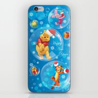 tigger iPhone & iPod Skins featuring New Year Card by Veronika