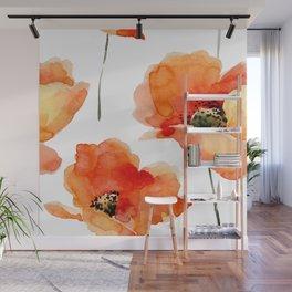 Modern hand painted orange watercolor poppies pattern Wall Mural