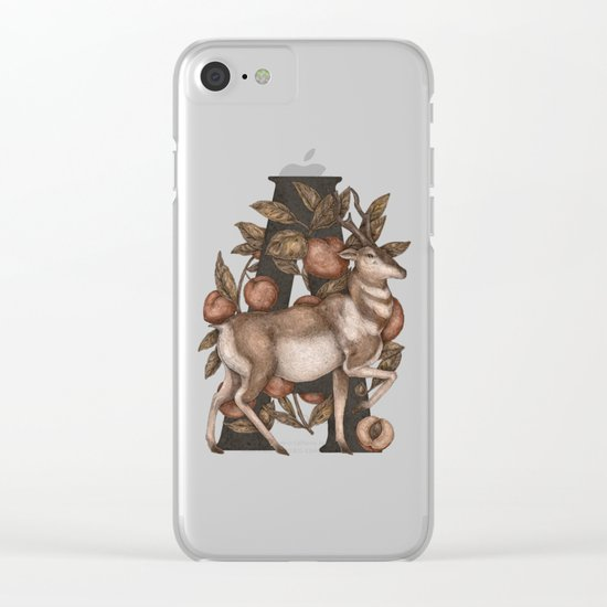 Letter A: Antelope & Apricots Clear iPhone Case