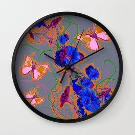 Modern Style Pink Butterflies Blue Morning Glory Grey Art Wall Clock