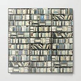 Bookshelf Library Metal Print