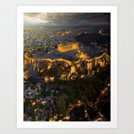 Sunset over the Acropolis, Greece Art Print