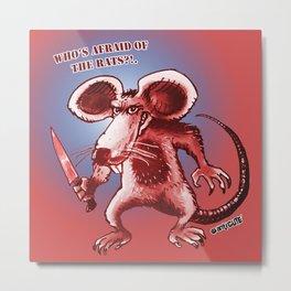 cartoon style rat with knife  Metal Print