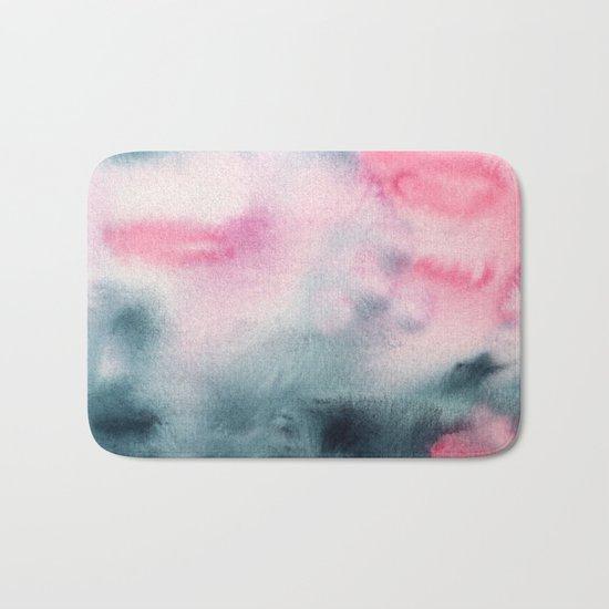 When indigo meets pink || watercolor Bath Mat
