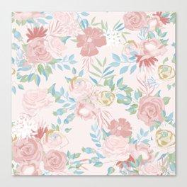 Vintage Flower Painted Watercolour Garden Pattern Canvas Print