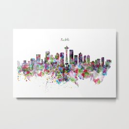 Seattle View in watercolor Metal Print