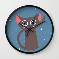 space cat Wall Clocks featuring Space cat by Alex Fabri
