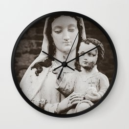 Madonna and Child - Virgin Mary and Baby Jesus Icon - Catholic Art in France Wall Clock
