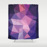 polygon Shower Curtains featuring VIOLET POLYGON by Crimson-Shark