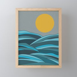 The ocean, waves and sun Framed Mini Art Print