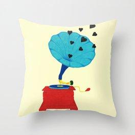 Gramophone Love Throw Pillow