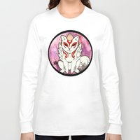 okami Long Sleeve T-shirts featuring Amaterasu from Okami 02 by Jazmine Phillips