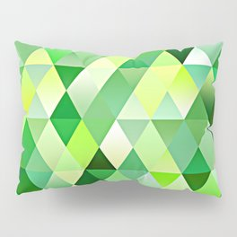Lime Green Yellow White Diamond Triangles Mosaic Pattern Pillow Sham