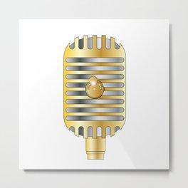 Golden Microphone Metal Print