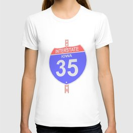Interstate highway 35 road sign in Iowa T-shirt
