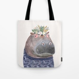 Hippo with flowers on head Tote Bag
