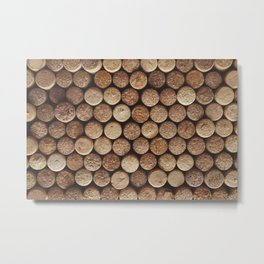 Wine corks background. Top view close up Metal Print