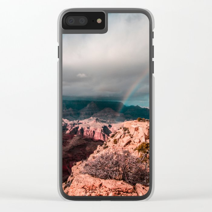 Rainbow over the Canyon Clear iPhone Case