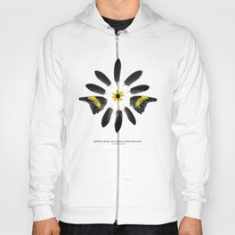 feather mandala... goldfinch wings, crow feathers, black eyed susan Hoody