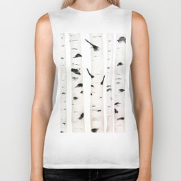 birch  watercolor Biker Tank