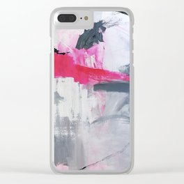 """Love Story no 3"" Pink Grey White & Black Abstract Painting Clear iPhone Case"