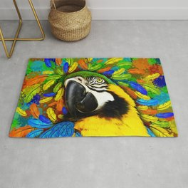 Gold and Blue Macaw Parrot Fantasy Rug