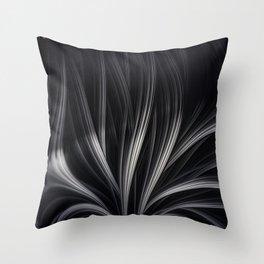 FANDOM dark grey black fractal ribbons with intricate peach nods Throw Pillow