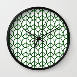 Forest Green Peace Sign Throw Pillow Wall Clock