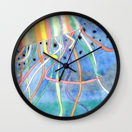 Rainbow Colored Jelly Fish Wall Clock