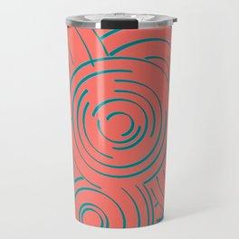 Living Coral and Turquoise Circular Design Travel Mug