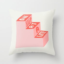 One Step at a Time in pink Throw Pillow