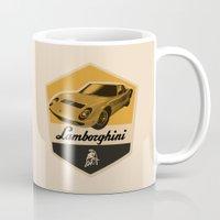 lamborghini Mugs featuring Lamborghini Miura by Liviu Antonescu