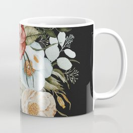 Roses and Poppies Bouquet on Charcoal Black Coffee Mug