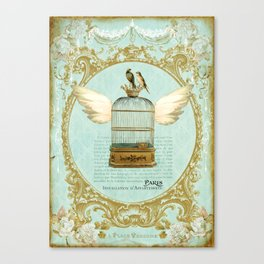 Flying Bird Cage Canvas Print