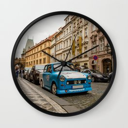 Trabant on the street of Prague Wall Clock