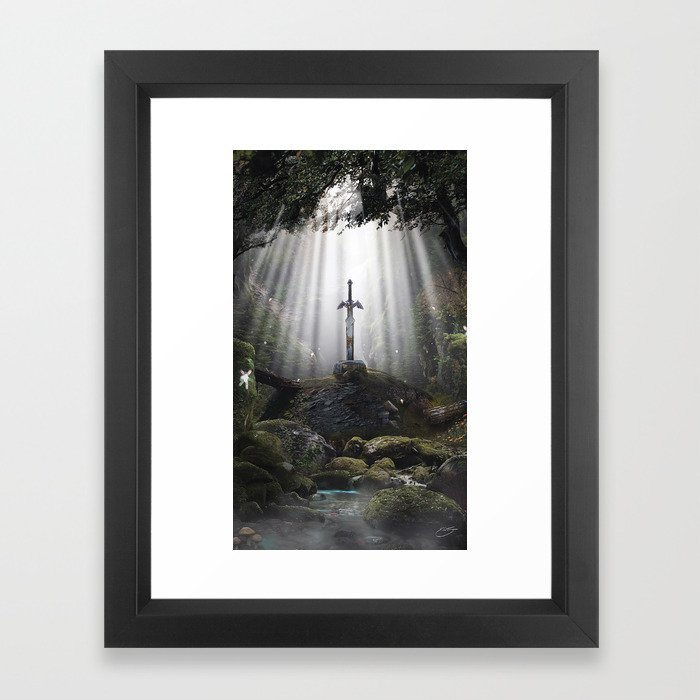 Master Sword in Ruins (Breath of the Wild) Framed Art Print