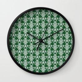 Scroll Floral Mini Christmas Green Wall Clock