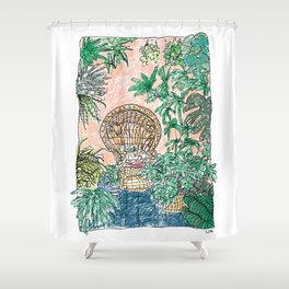 Tropical Coral Jungle Room with Sleeping Cat Shower Curtain