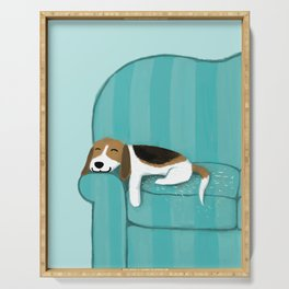 Happy Couch Beagle | Cute Sleeping Dog Serving Tray