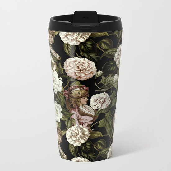 Vintage Botanical Flower Lady Pattern Metal Travel Mug