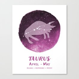 Taurus Zodiac Sign Canvas Print