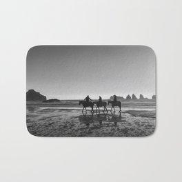 Horseback Storytelling Black and White Bath Mat